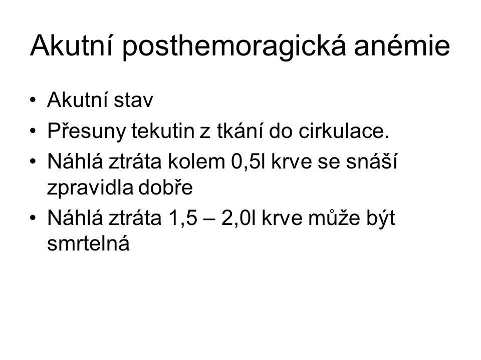 Akutní posthemoragická anémie Akutní stav Přesuny tekutin z tkání do cirkulace. Náhlá ztráta kolem 0,5l krve se snáší zpravidla dobře Náhlá ztráta 1,5