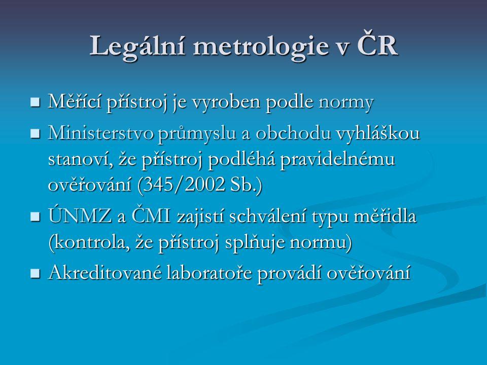 Legální metrologie v ČR Měřící přístroj je vyroben podle normy Měřící přístroj je vyroben podle normy Ministerstvo průmyslu a obchodu vyhláškou stanov