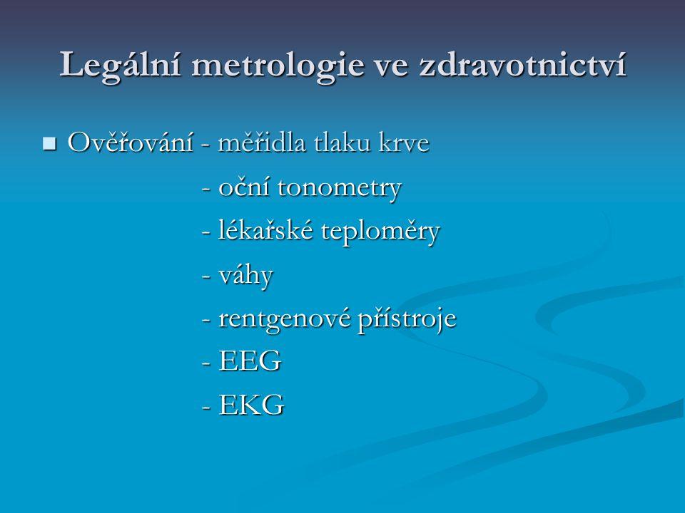 Legální metrologie ve zdravotnictví Ověřování - měřidla tlaku krve Ověřování - měřidla tlaku krve - oční tonometry - oční tonometry - lékařské teplomě