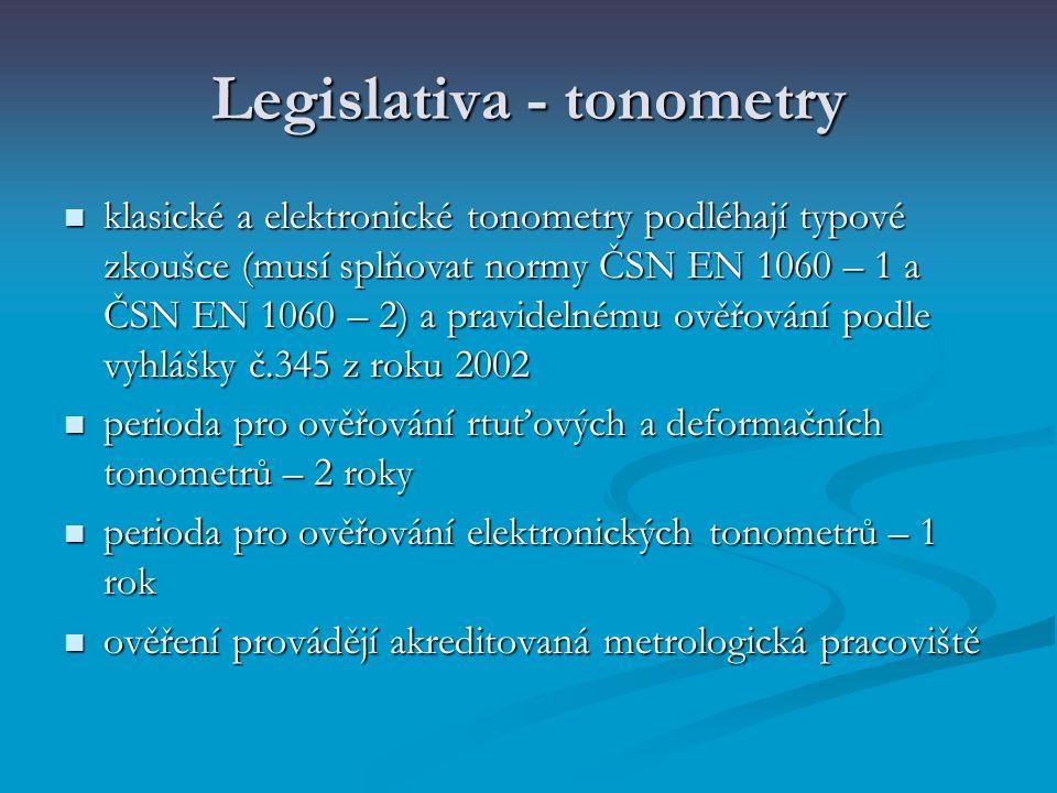 Legislativa - tonometry klasické a elektronické tonometry podléhají typové zkoušce (musí splňovat normy ČSN EN 1060 – 1 a ČSN EN 1060 – 2) a pravideln