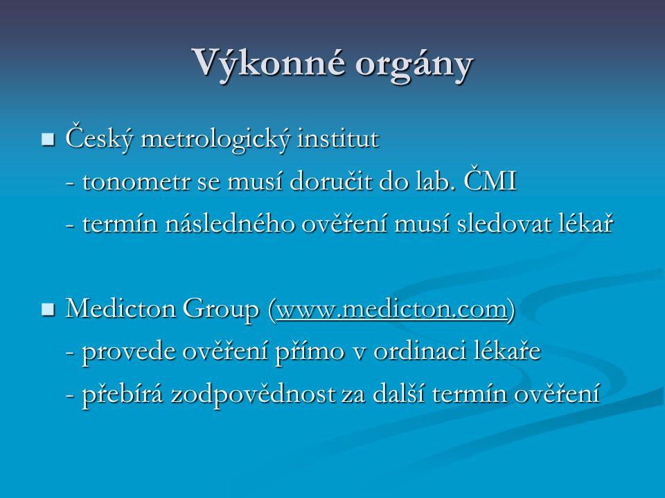 Výkonné orgány Český metrologický institut Český metrologický institut - tonometr se musí doručit do lab. ČMI - termín následného ověření musí sledova
