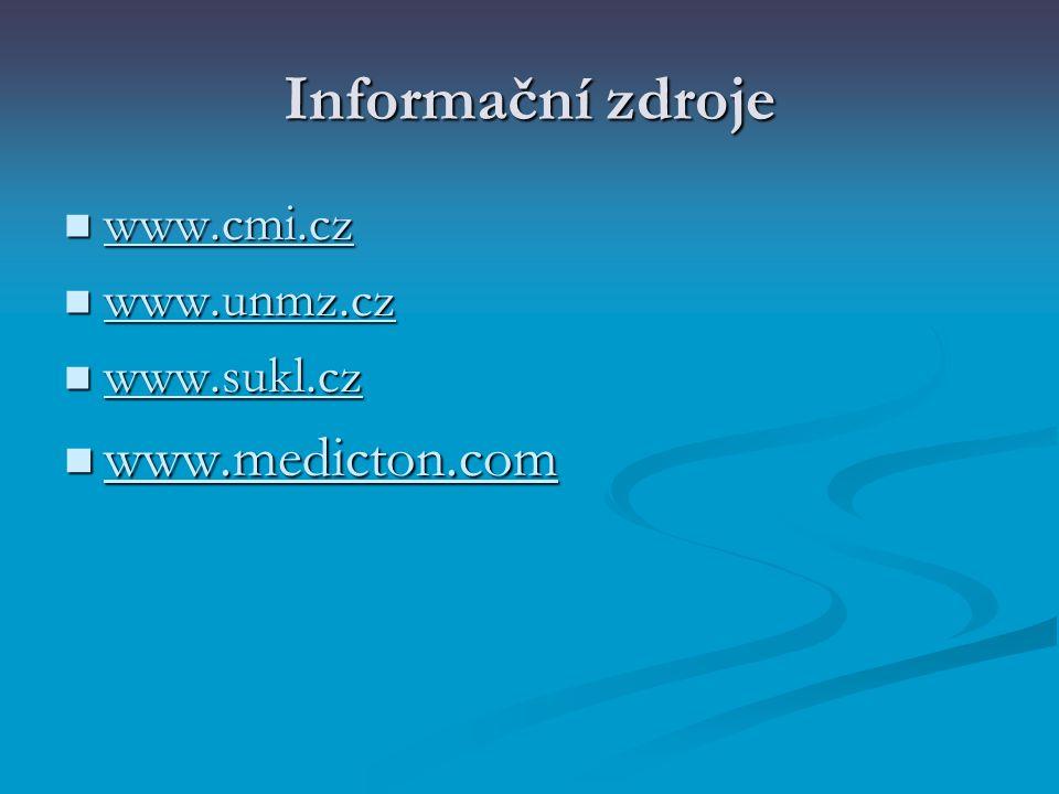 Informační zdroje www.cmi.cz www.cmi.cz www.cmi.cz www.unmz.cz www.unmz.cz www.unmz.cz www.sukl.cz www.sukl.cz www.medicton.com www.medicton.com www.m