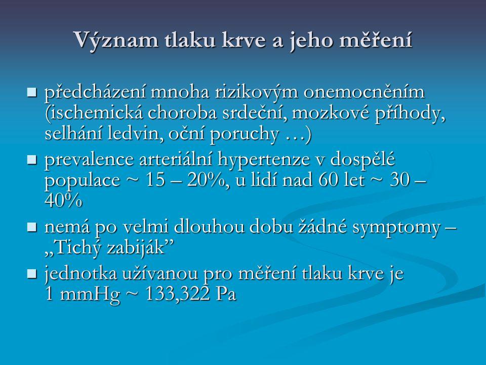 Význam tlaku krve a jeho měření předcházení mnoha rizikovým onemocněním (ischemická choroba srdeční, mozkové příhody, selhání ledvin, oční poruchy …)
