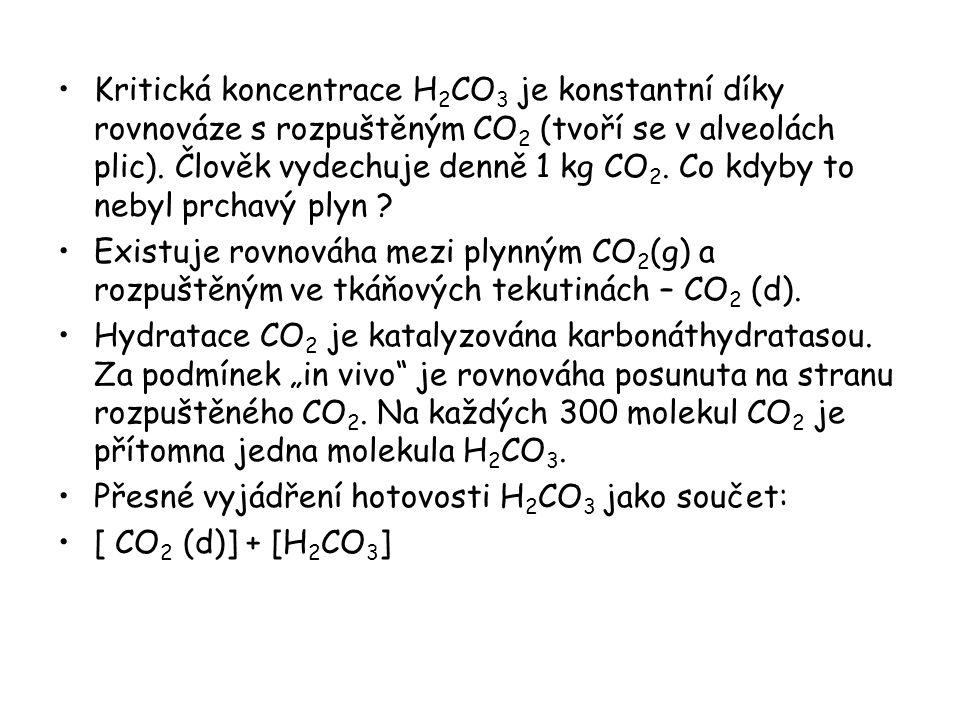 Celkové rovnováhy hydrogenuhličitanového ústoje: CO 2 (d) + H 2 O H 2 CO 3 H 2 CO 3 H + + HCO 3 - Ionizace H 2 CO 3 za přítomnosti CO 2 (d): K h = [H 2 CO 3 ] / [CO 2 (d)] z toho: [H 2 CO 3 ] = K h.