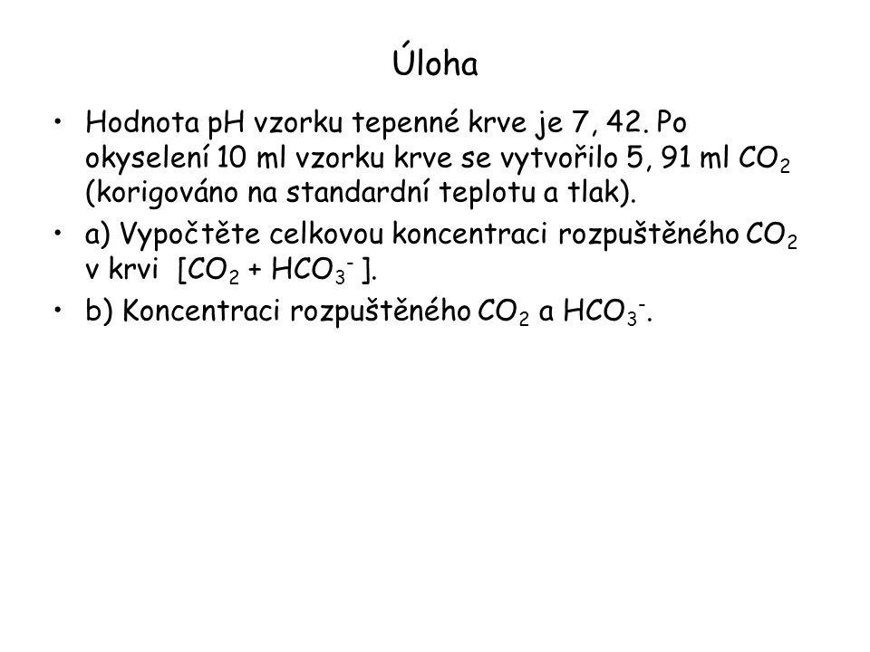 Úloha Hodnota pH vzorku tepenné krve je 7, 42. Po okyselení 10 ml vzorku krve se vytvořilo 5, 91 ml CO 2 (korigováno na standardní teplotu a tlak). a)