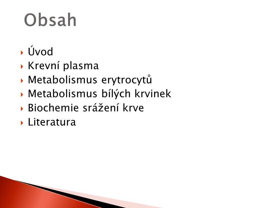  Úvod  Krevní plasma  Metabolismus erytrocytů  Metabolismus bílých krvinek  Biochemie srážení krve  Literatura Obsah