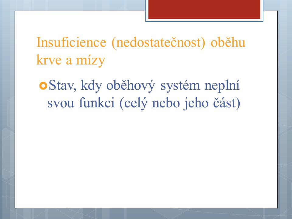 Insuficience (nedostatečnost) oběhu krve a mízy  Stav, kdy oběhový systém neplní svou funkci (celý nebo jeho část)