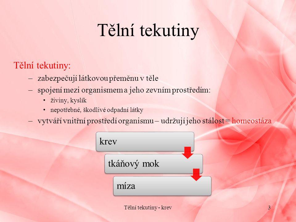 Krevní destičky - trombocyty Krevní destičky – trombocyty: –malá zrnitá tělíska bez jádra –vznik odštěpováním buněk kostní dřeně - megakaryocytů –množství: 150 – 300tis.