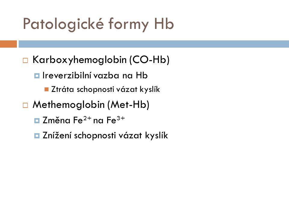 Saturační křivka Hb  Posun doprava = snížení afinity  Pokles pH  Vzestup pCO 2  Vzestup teploty  Vzestup 2,3-BPG