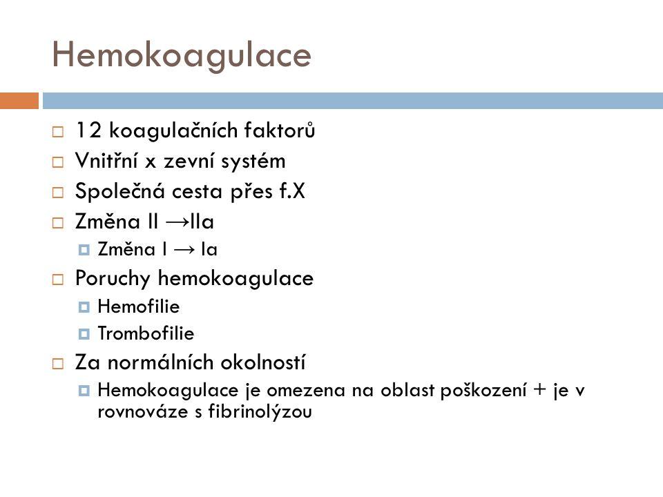 Hemokoagulační testy  APTT  Vnitřní kaskáda  Quick/INR  Vnější kaskáda  Význam  Sledování účinnosti antikoagulační terapie...