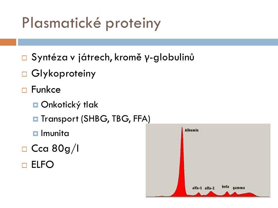 Albumin  40 – 45 g/l = 60% všech plazmatických proteinů  Syntéza v játrech, 15g/den  Pokles syntézy – hypalbuminémie – otoky  Funkce  Onkotický tlak  Transport látek FFA, steroidní hormony, bilirubin, Cu