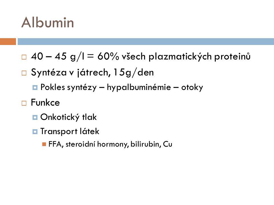α -, β - frakce proteinů  Haptoglobin  Transferin  Ferritin  Hemosiderin  Ceruloplazmin  α 1 –antitrypsin