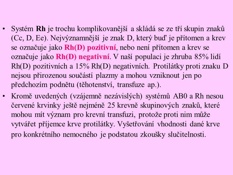 Systém Rh je trochu komplikovanější a skládá se ze tří skupin znaků (Cc, D, Ee). Nejvýznamnější je znak D, který buď je přítomen a krev se označuje ja