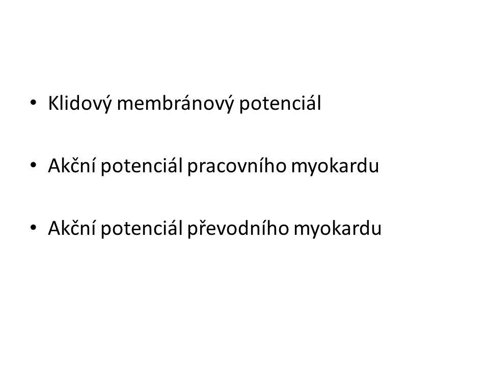 Klidový membránový potenciál Akční potenciál pracovního myokardu Akční potenciál převodního myokardu