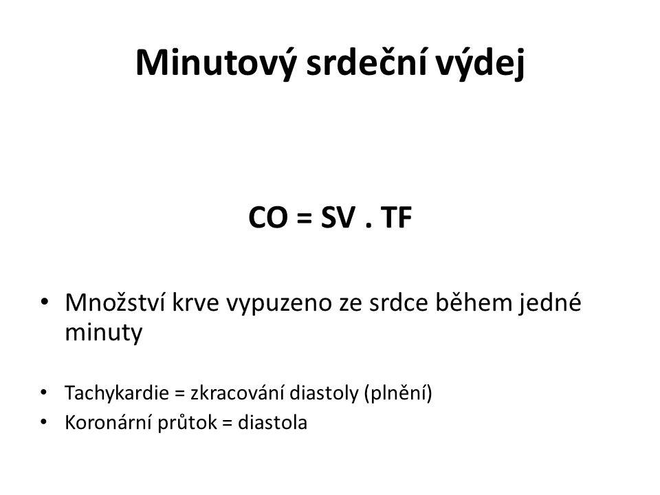 Minutový srdeční výdej CO = SV. TF Množství krve vypuzeno ze srdce během jedné minuty Tachykardie = zkracování diastoly (plnění) Koronární průtok = di