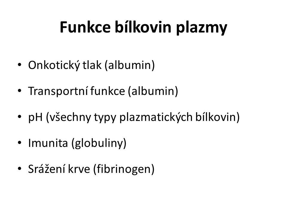 Funkce bílkovin plazmy Onkotický tlak (albumin) Transportní funkce (albumin) pH (všechny typy plazmatických bílkovin) Imunita (globuliny) Srážení krve