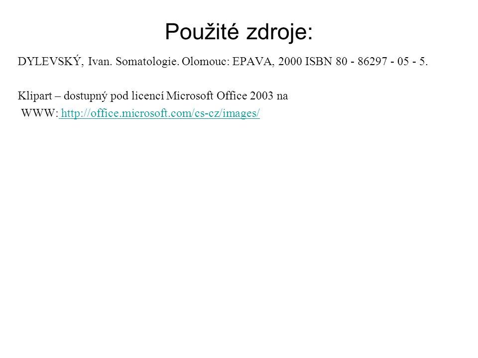 Použité zdroje: DYLEVSKÝ, Ivan. Somatologie. Olomouc: EPAVA, 2000 ISBN 80 - 86297 - 05 - 5. Klipart – dostupný pod licencí Microsoft Office 2003 na WW