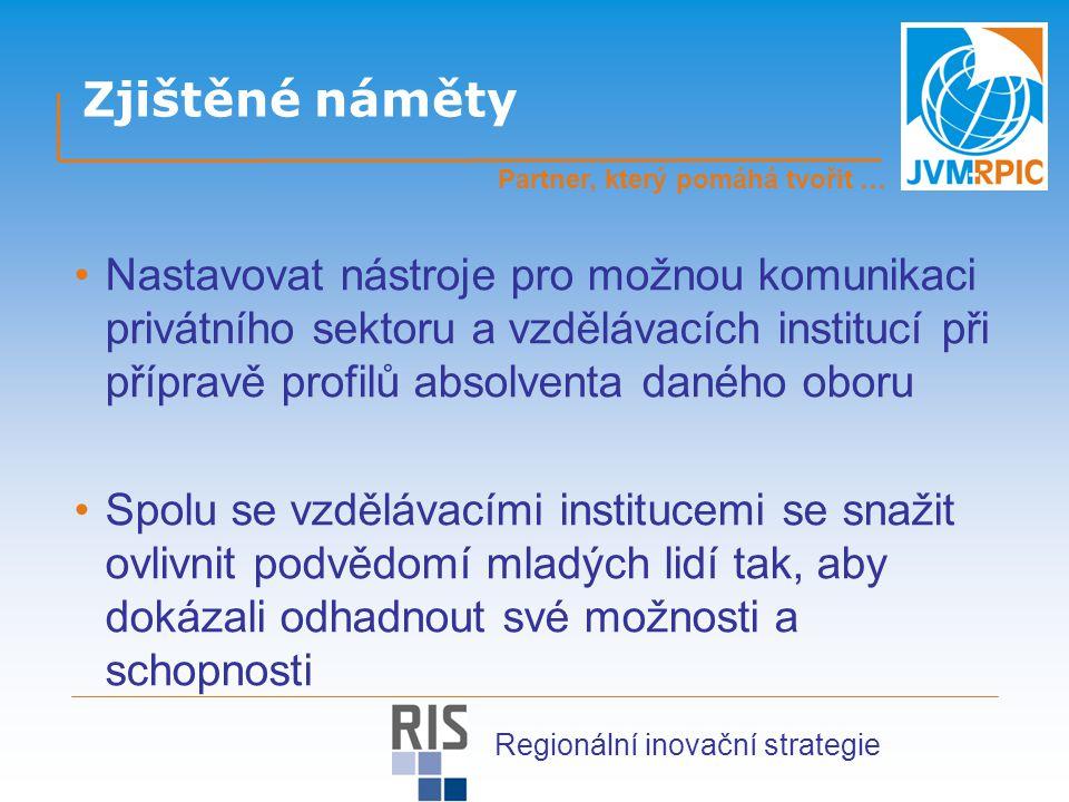 Zjištěné náměty Nastavovat nástroje pro možnou komunikaci privátního sektoru a vzdělávacích institucí při přípravě profilů absolventa daného oboru Spolu se vzdělávacími institucemi se snažit ovlivnit podvědomí mladých lidí tak, aby dokázali odhadnout své možnosti a schopnosti Partner, který pomáhá tvořit … Regionální inovační strategie