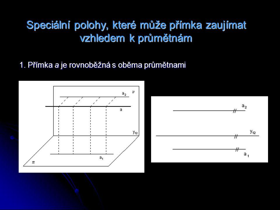 2.Přímka a je kolmá k nárysně a rovnoběžná s půdorysnou 3.
