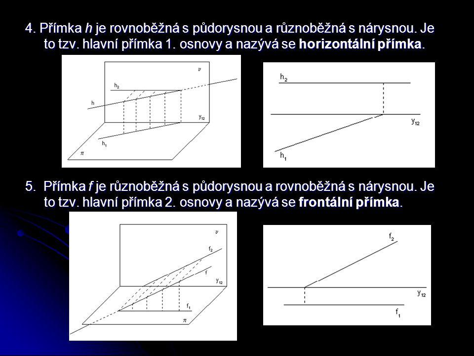 4.Přímka h je rovnoběžná s půdorysnou a různoběžná s nárysnou.