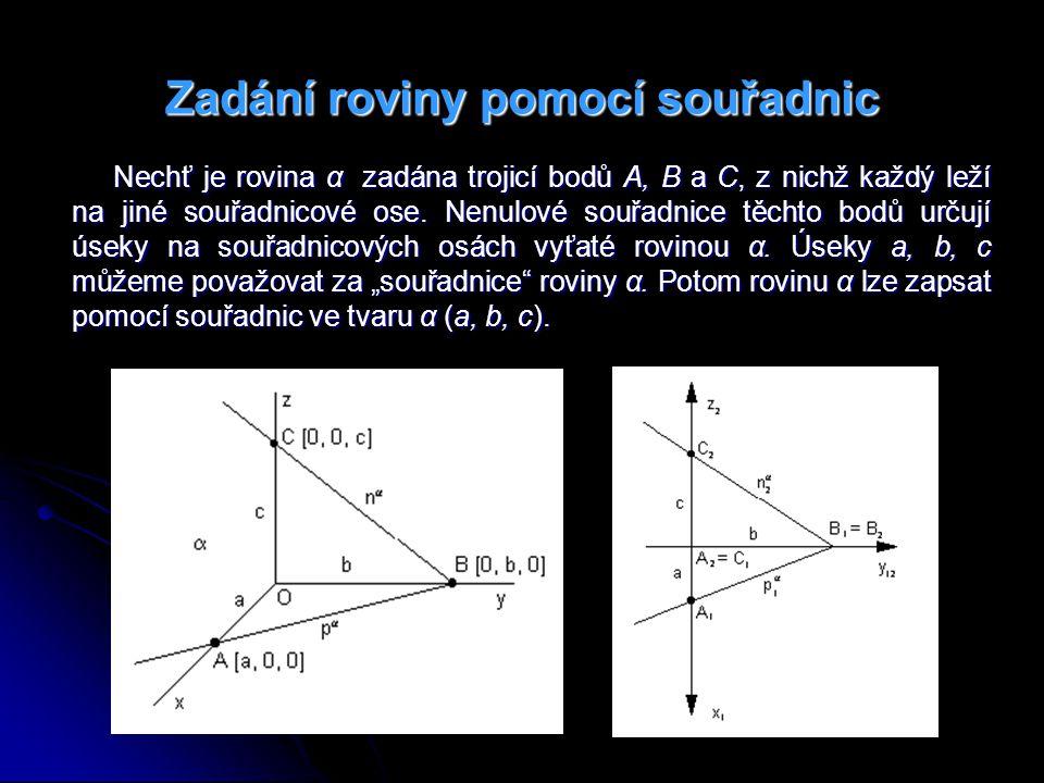 Příklad 3: Sestrojte stopy rovin α (25, 17, 41), β (38, -12, 19), γ (+∞, -34, 16), δ (11, 44, + ∞).