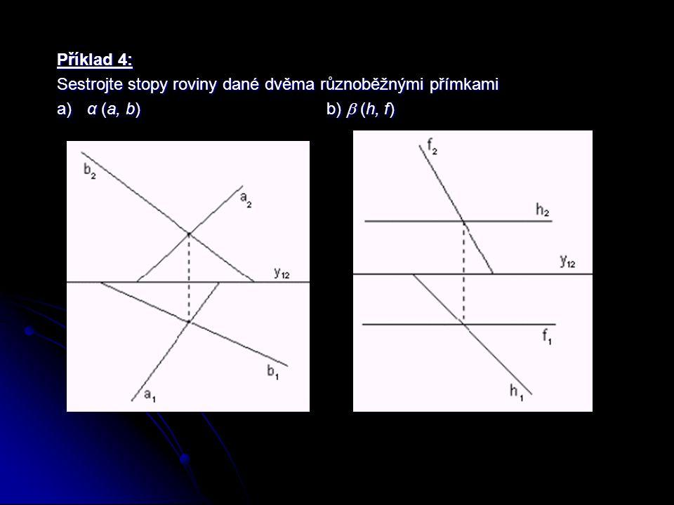 Příklad 5: Sestrojte stopy roviny  dané přímkou d a bodem C, který na přímce d neleží.