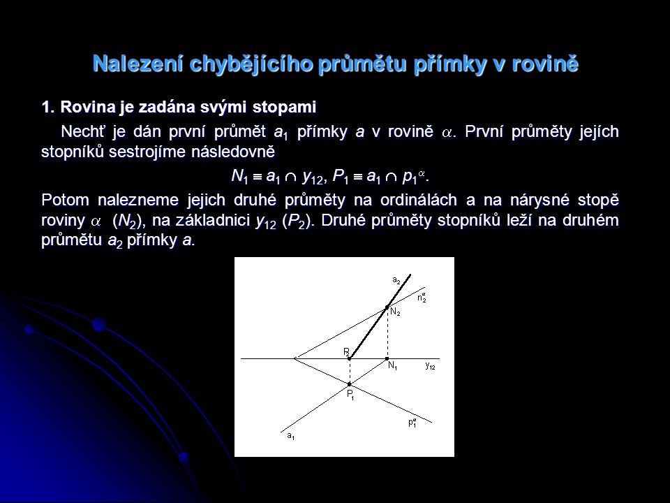 Příklad 6: Najděte chybějící průmět a 1 přímky a ležící v rovině .