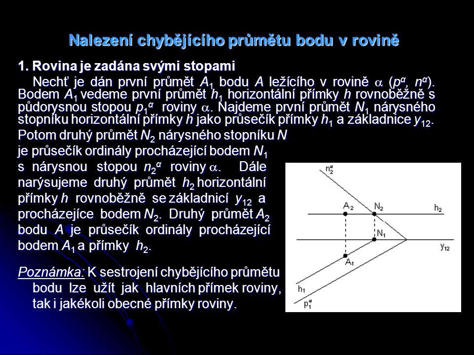 Příklad 8: Sestrojte chybějící průmět A 2 bodu A v rovině  (p α, n α ).