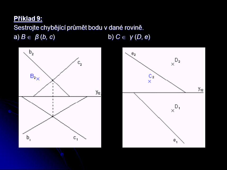 Příklad 9: Sestrojte chybějící průmět bodu v dané rovině. a) B  β (b, c) b) C  γ (D, e)