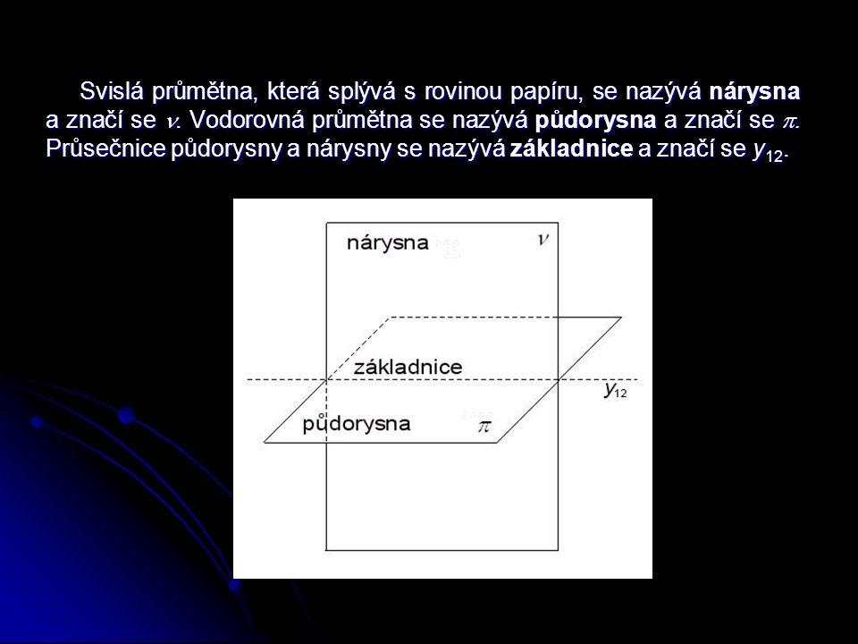 Promítáme-li v Mongeově promítání trojrozměrný geometrický útvar, užíváme k jeho zobrazení na jednotlivé průmětny tzv.