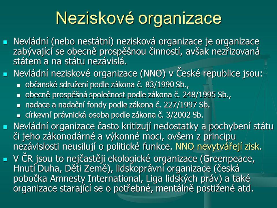 Neziskové organizace Nevládní (nebo nestátní) nezisková organizace je organizace zabývající se obecně prospěšnou činností, avšak nezřizovaná státem a na státu nezávislá.