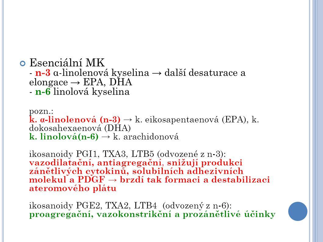 Esenciální MK - n-3 α-linolenová kyselina → další desaturace a elongace → EPA, DHA - n-6 linolová kyselina pozn.: k. α -linolenová (n-3) → k. eikosape