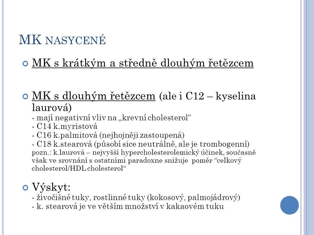 """MK NASYCENÉ MK s krátkým a středně dlouhým řetězcem MK s dlouhým řetězcem (ale i C12 – kyselina laurová) - mají negativní vliv na """"krevní cholesterol"""""""