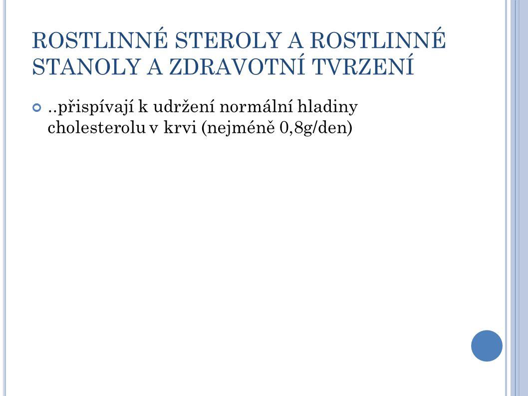 ROSTLINNÉ STEROLY A ROSTLINNÉ STANOLY A ZDRAVOTNÍ TVRZENÍ..přispívají k udržení normální hladiny cholesterolu v krvi (nejméně 0,8g/den)