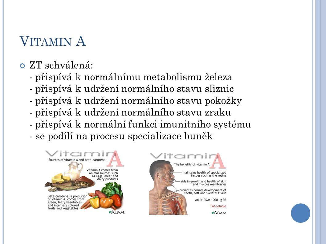 V ITAMIN A ZT schválená: - přispívá k normálnímu metabolismu železa - přispívá k udržení normálního stavu sliznic - přispívá k udržení normálního stav