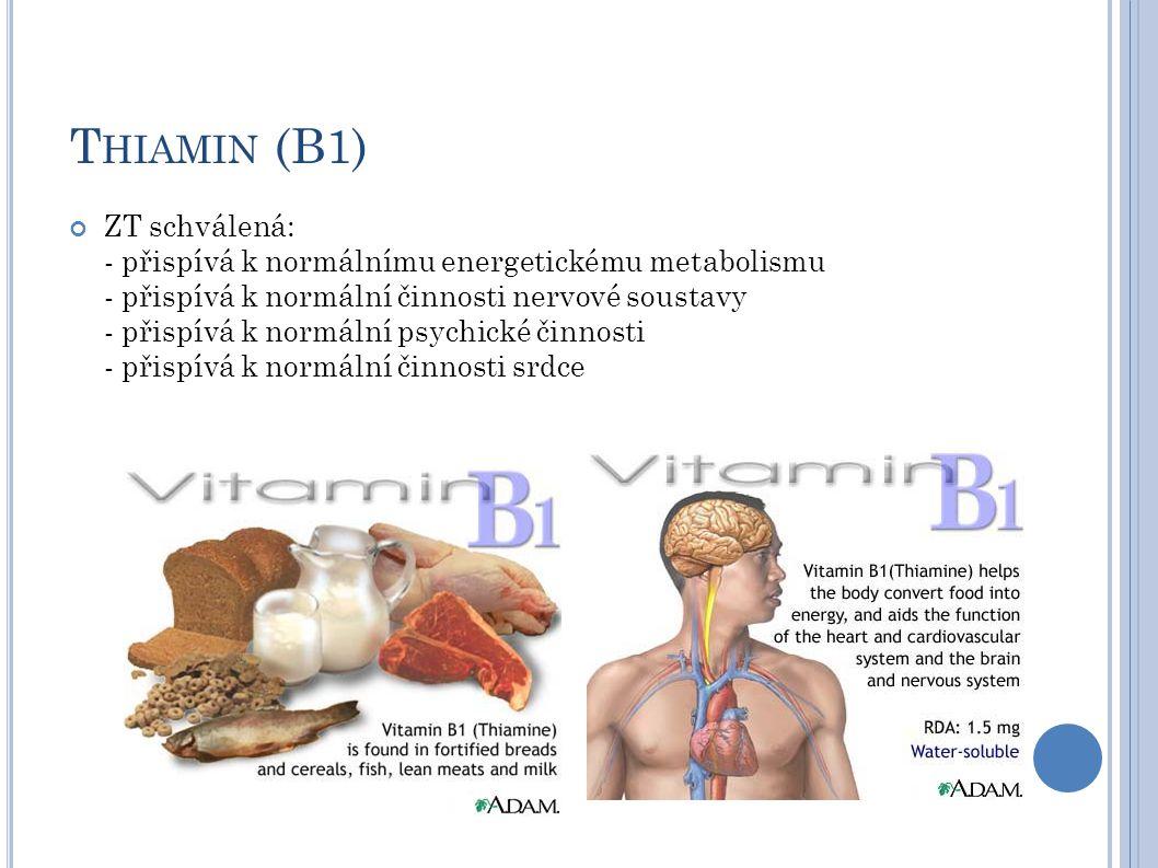 T HIAMIN (B1) ZT schválená: - přispívá k normálnímu energetickému metabolismu - přispívá k normální činnosti nervové soustavy - přispívá k normální ps