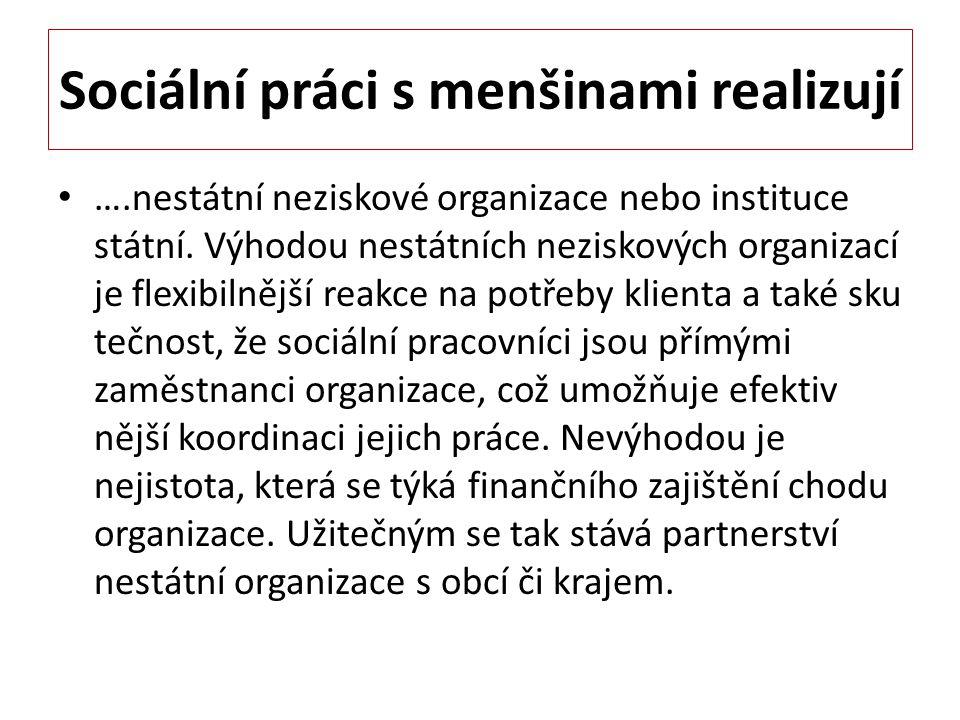 Sociální práci s menšinami realizují ….nestátní neziskové organizace nebo instituce státní. Výhodou nestátních neziskových organizací je flexibilnější
