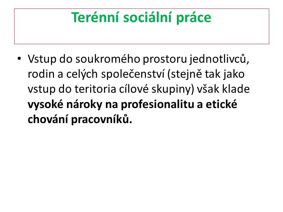 Terénní sociální práce Vstup do soukromého prostoru jednotlivců, rodin a celých společenství (stejně tak jako vstup do teritoria cílové skupiny) však