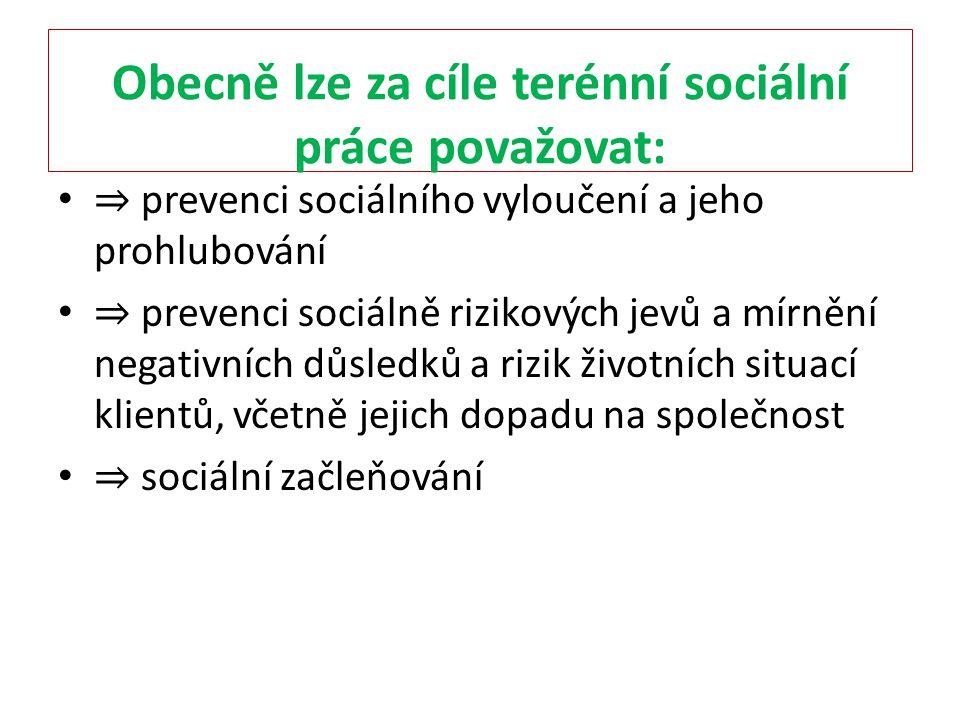 Obecně lze za cíle terénní sociální práce považovat: ⇒ prevenci sociálního vyloučení a jeho prohlubování ⇒ prevenci sociálně rizikových jevů a mírnění