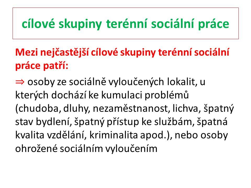 cílové skupiny terénní sociální práce Mezi nejčastější cílové skupiny terénní sociální práce patří: ⇒ osoby ze sociálně vyloučených lokalit, u kterých