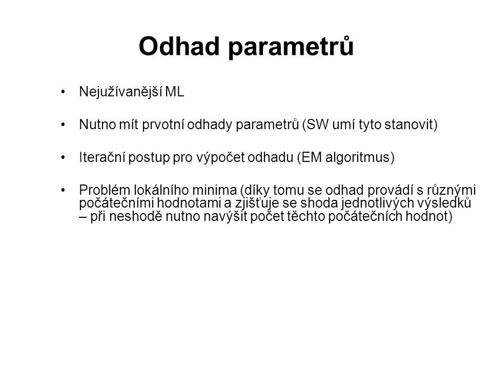 Odhad parametrů Nejužívanější ML Nutno mít prvotní odhady parametrů (SW umí tyto stanovit) Iterační postup pro výpočet odhadu (EM algoritmus) Problém