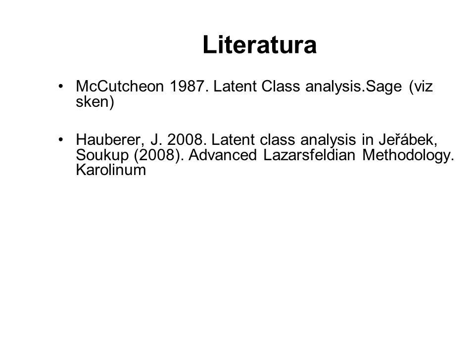 Literatura McCutcheon 1987. Latent Class analysis.Sage (viz sken) Hauberer, J. 2008. Latent class analysis in Jeřábek, Soukup (2008). Advanced Lazarsf
