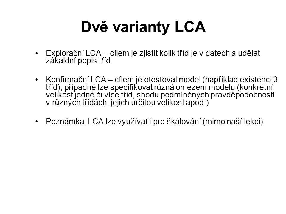 Dvě varianty LCA Explorační LCA – cílem je zjistit kolik tříd je v datech a udělat zákaldní popis tříd Konfirmační LCA – cílem je otestovat model (nap