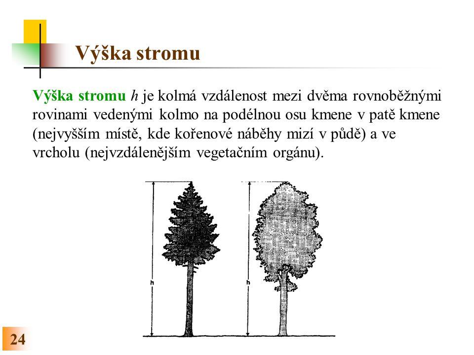 24 Výška stromu Výška stromu h je kolmá vzdálenost mezi dvěma rovnoběžnými rovinami vedenými kolmo na podélnou osu kmene v patě kmene (nejvyšším místě