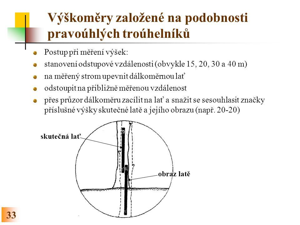 33 Výškoměry založené na podobnosti pravoúhlých troúhelníků Postup při měření výšek: stanovení odstupové vzdálenosti (obvykle 15, 20, 30 a 40 m) na mě