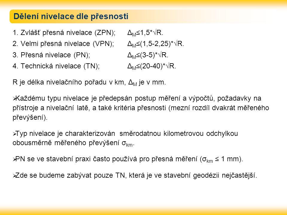 Dělení nivelace dle přesnosti 1. Zvlášť přesná nivelace (ZPN); Δ M ≤1,5*√R. 2. Velmi přesná nivelace (VPN); Δ M ≤(1,5-2,25)*√R. 3. Přesná nivelace (PN