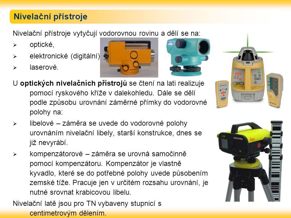 Nivelační přístroje Nivelační přístroje vytyčují vodorovnou rovinu a dělí se na:  optické,  elektronické (digitální),  laserové. U optických nivela
