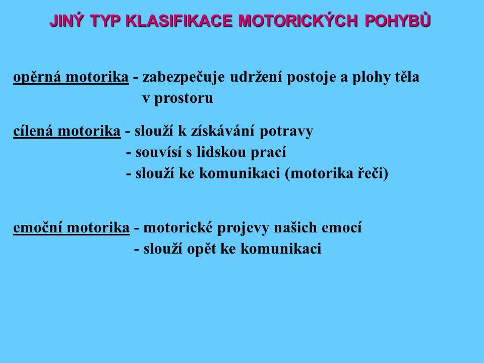 JINÝ TYP KLASIFIKACE MOTORICKÝCH POHYBŮ opěrná motorika - zabezpečuje udržení postoje a plohy těla v prostoru cílená motorika - slouží k získávání pot