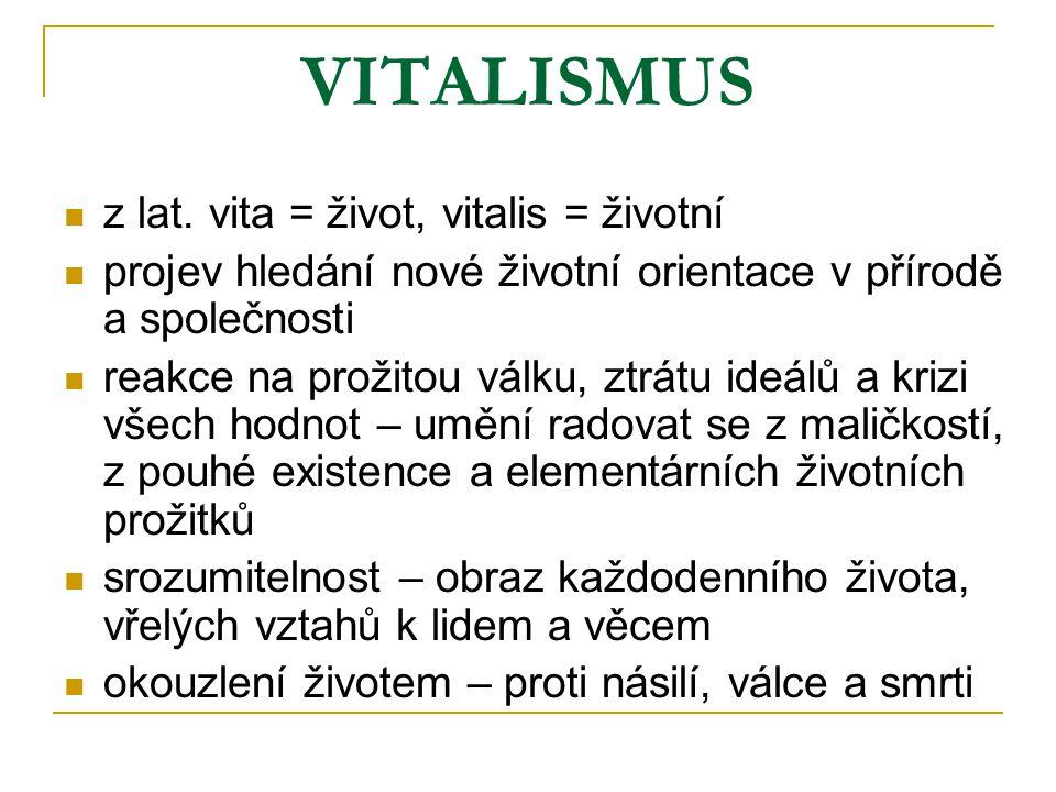 VITALISMUS z lat. vita = život, vitalis = životní projev hledání nové životní orientace v přírodě a společnosti reakce na prožitou válku, ztrátu ideál