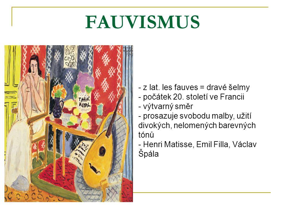 FAUVISMUS - z lat. les fauves = dravé šelmy - počátek 20. století ve Francii - výtvarný směr - prosazuje svobodu malby, užití divokých, nelomených bar